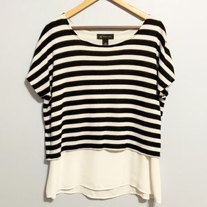INC. Layered Black & White Striped Top